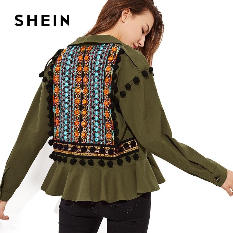 SHEIN Embroidery Jacquard Back Pom-Pom Detail Frilled Jackets