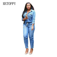 2017 Spring New Fashion Women Long Sleeve Jeans Jumpsuit Handsome Deep V With Botton Rompers Full
