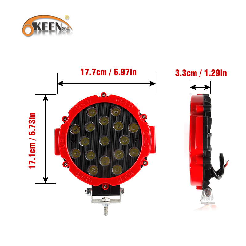 OKEEN 12V 24V Offroad LED Work Light Bar 7inch 51W Round Led Lights For Car 4x4 offroad Truck Tractor ATV SUV Driving Fog Lamp