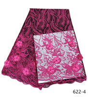 French Lace Fabric With Beaded, French 3D Flowers Lace Fabric, Cheap Embroidery African Lace French Lace Leaf Fabric 622