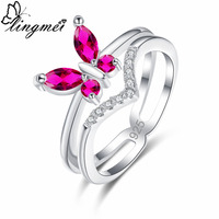 lingmei New Design Popular Butterfly Pink & Red Royal Blue White CZ Silver Color Ring Size 6 7 8 9 Unique Women Jewelry Party