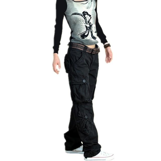 787861f1d0153 Army Cargo Pants Women Big Size Loose Street Dance Trousers ladies Hip Hop Plus  Size Baggy Multi-pocket Capri Pants Female