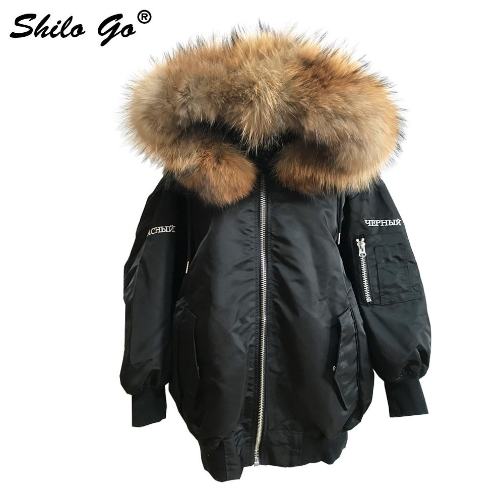 Waterproof bomber jacket big raccoon fur hood winter women parka natural real fur coat women warm thick Embroidery titide Down hood