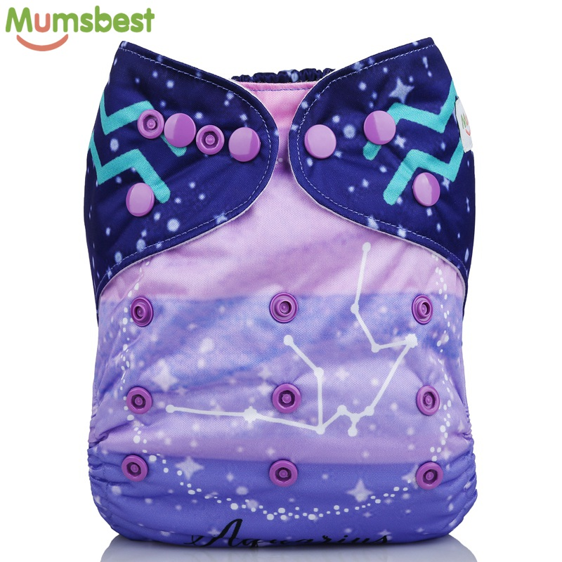 [Mumsbest] New Baby Cloth Diapers Cover With Microfiber Insert Positioned Digital Pocket Diaper 12 Constellations Cloth Nappy
