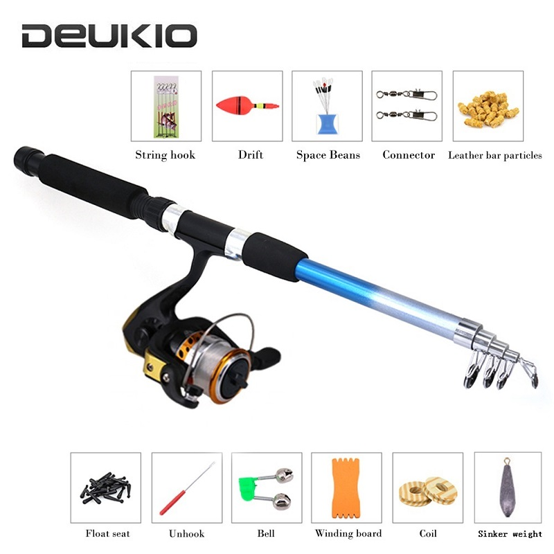 Fishing Set 2.1m Telescopic Rod with Spinning Reel Swivels Hooks Floats Kit