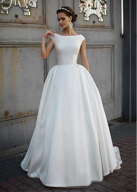 Simple satin vintage modest wedding dresses 2017 cap for Simple wedding dresses for petite brides