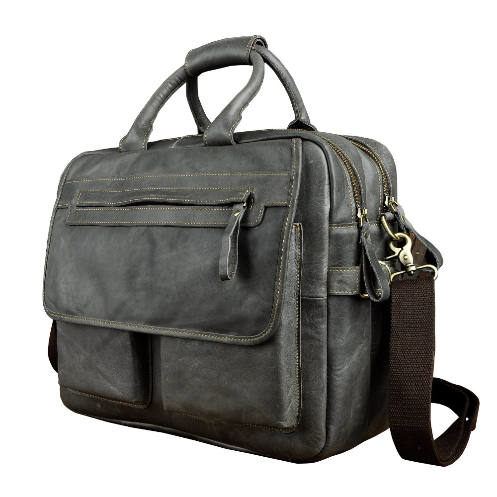 Men Real Leather Antique Style Large Capacity Briefcase Business 15 6 Laptop Cases Attache Messenger Bags