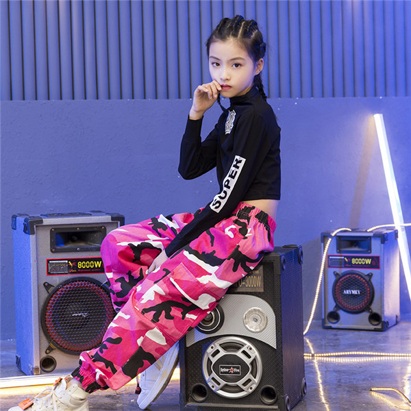 Girls Jazz Dance Costumes Hip Hop Suit Long Sleeve Children Kids Street Dancing Clothes Performance Show Out Clothing 120 180