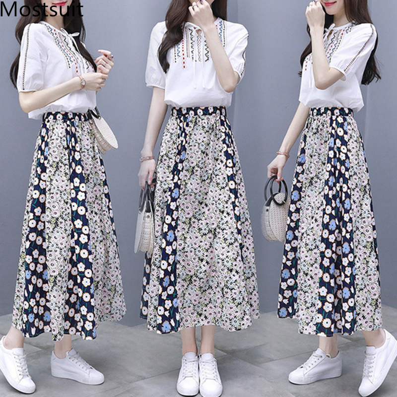2019 Summer Two Piece Sets Women Embroidery Short Sleeve Tops And Printed Pleated A-line Skirt Suits Casual Elegant Fashion Sets 29