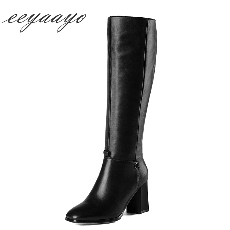 Здесь можно купить  2018 New Genuine Leather Winter Women Knee-High Boots High Heel Square Toe Zipper Sexy Women Cow Leather Shoes Black Long Boots   Обувь