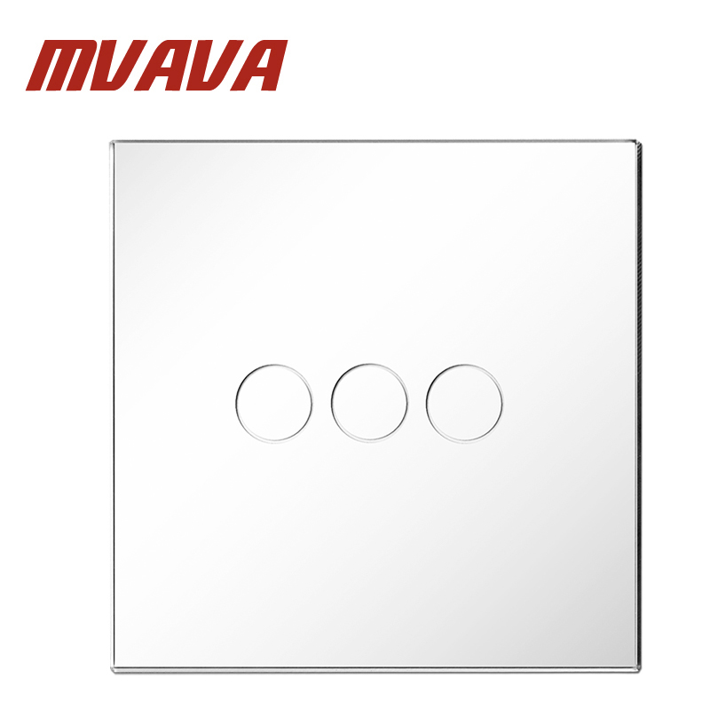 MVAVA Smart Switch White Crystal Glass Panel 3 Gang 1 Way Wall Touch Switch Remote Control EU Switch Remote Light Switch smart home us au wall touch switch white crystal glass panel 1 gang 1 way power light wall touch switch used for led waterproof