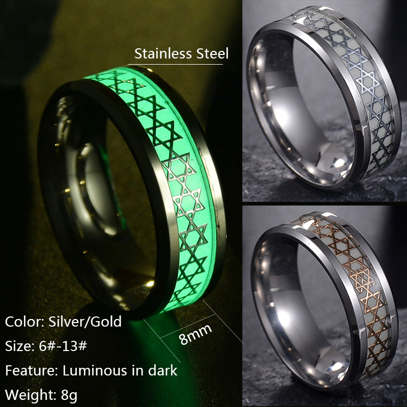 Nextvance Luminous David Star Ring 2 Color Stainless Steel Hexagram Ring Military Promise Jewelry Drop Shipping 4