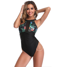Women One Piece Swimsuit High Neck V-neckline Mesh Ruched Monokini Swimwear