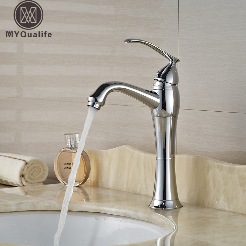 все цены на Bathroom Single Handle One Hole Vanity Sink Faucet Chrome Finished Basin Mixer Taps онлайн