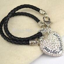 Родиевое покрытие мать и дочь лучший друг подвеска в форме сердца с кристаллами Лобстер браслет на крючке(B20001