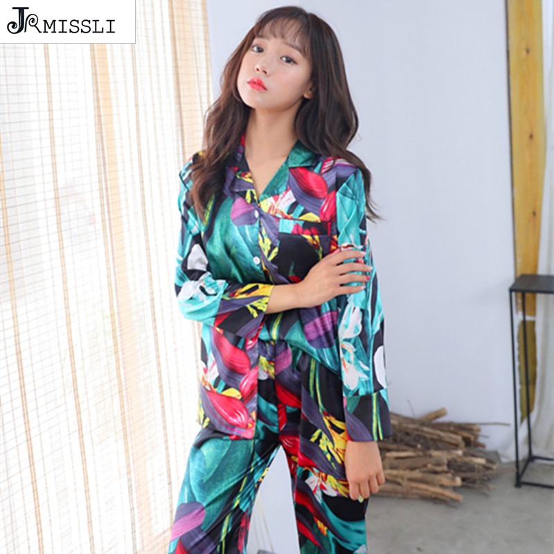 JRMISSLI   Pajamas     Sets   Print Silk   Pajamas   Suits Casual Femme Home Comfortable Women   Pajamas   Suits