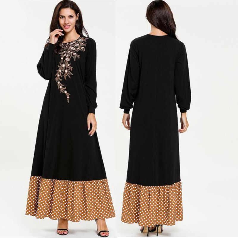 מוסלמי נשים ארוך שרוול חיג 'אב שמלת מקסי jalabiya האסלאמי שמלת נשים קפטן העבאיה Jilbab האיסלאם הרמדאן שמלת גלימות בתוספת Size4XL