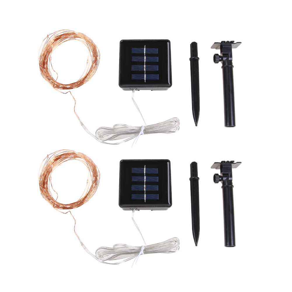 2pcs 10m 100 LED String Solar Outdoor String Light Xmas Garland Party Wedding Decoration Christmas Flasher Fairy Lights solar string lights 50 led blossom flower fairy light christmas lights for outdoor led garland patio party wedding decoration