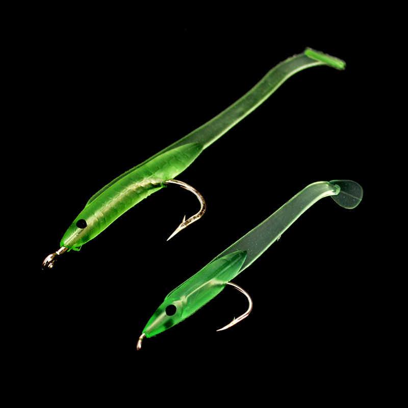 Leurre de pêche d'anguille de sable 10 pièces/ensemble vert lumineux petit appât artificiel doux d'anguille de Silicone Long avec des crochets taille 6.8 cm 5 cm