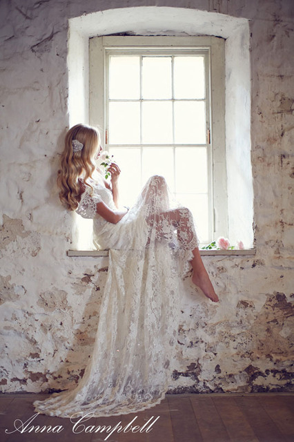 2014 anna campbell backless scallop lace Wedding Dresses cap sleeve lace  ivory bow Vestidos De Novia Eloise Bridal Gowns court 6166b0a74b54