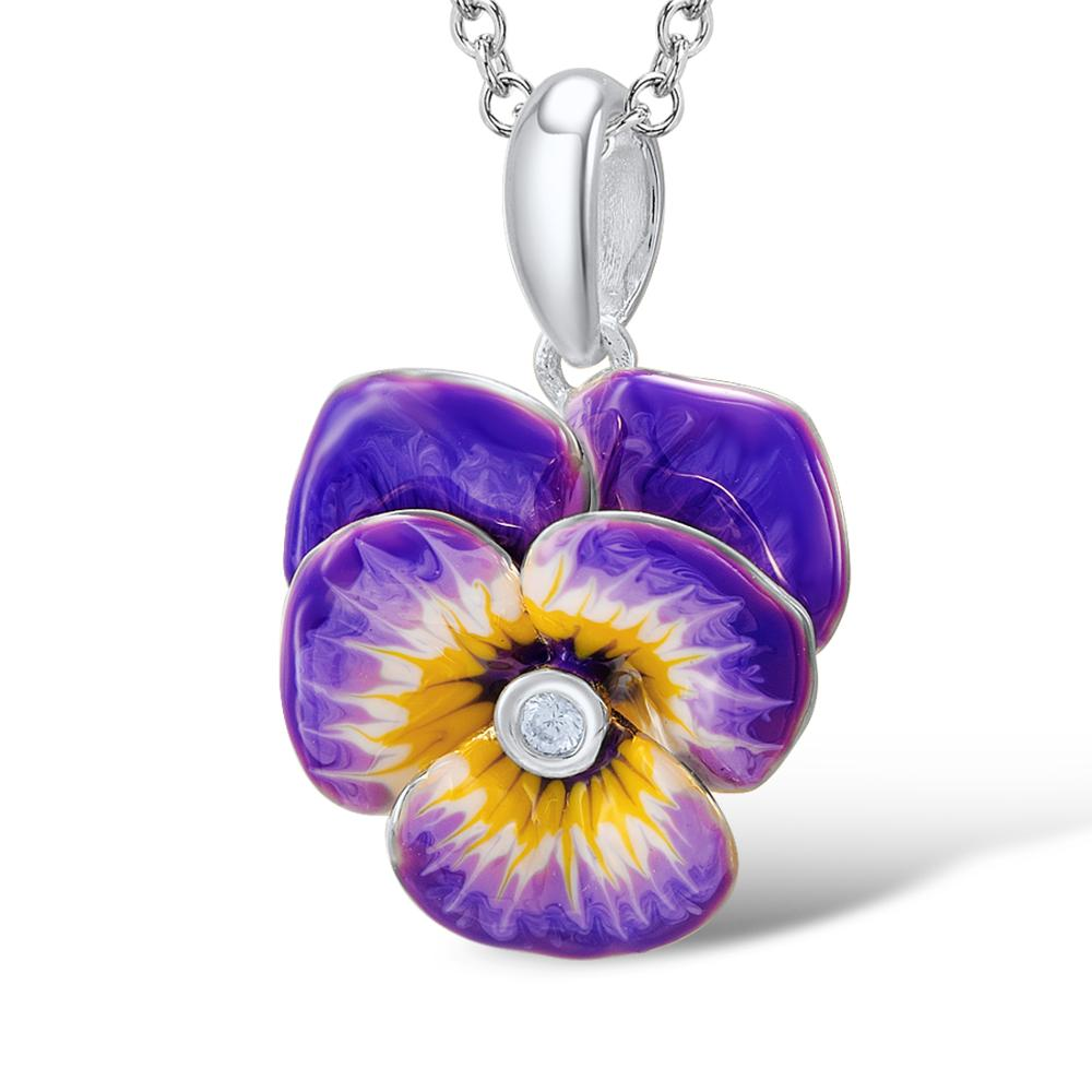 Image 5 - Santuzza Jewelry Set HANDMADE Enamel Purple Flower CZ Stone Ring Earrings Pendent Necklace 925 Sterling Silver Women Jewelry Set-in Jewelry Sets from Jewelry & Accessories