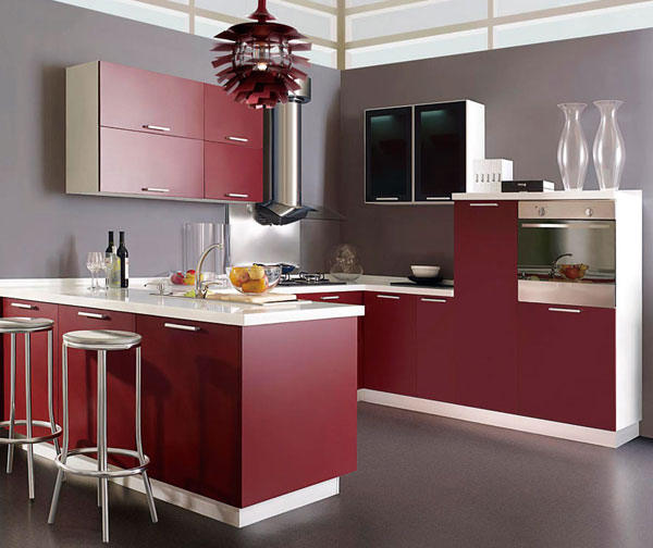 Wine red lacquer kitchen cabinets-in Kitchen Cabinets from ...