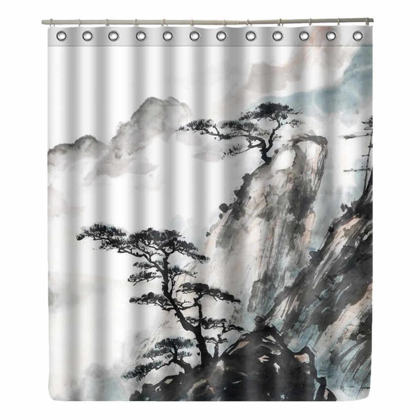 المشهد اللوحة البوليستر النسيج دش الستار الحمام ديكور ورقة حجر للماء كورتينا دي بانو مع 12 السنانير زن