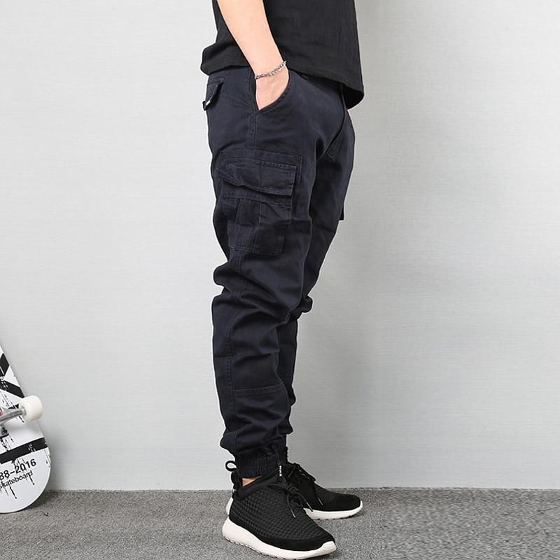 Fashion Steetwear Men   Jeans   Taper Pants Black Color Ankle Banded Cropped Trouser Big Pocket Cargo Pants Men Hip Hop Jogger Pants