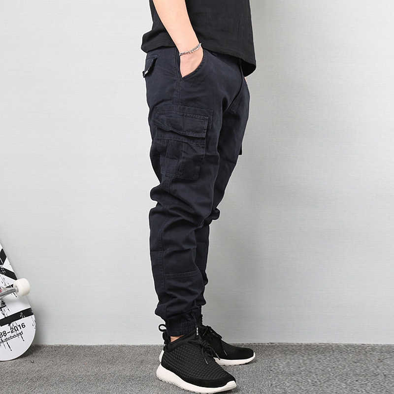 Pantalones Vaqueros De Moda Para Hombre Pantalon Capri Con Banda En El Tobillo Color Negro Con Bolsillos Grandes Cargo Jogger De Hip Hop Pantalones Vaqueros Aliexpress