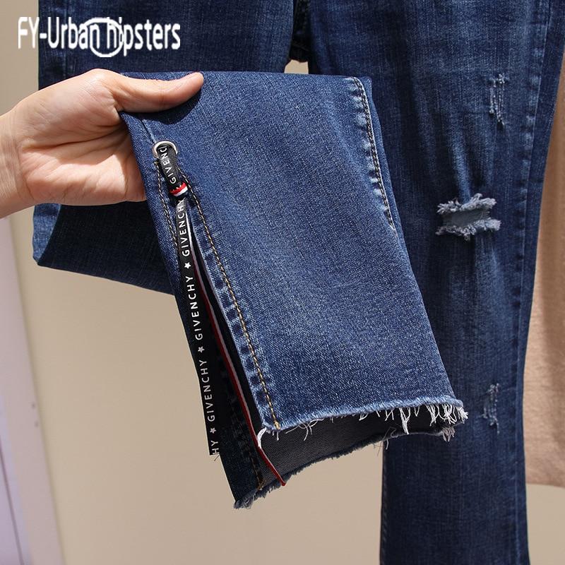 Agujero Mujeres Jeans Pierna Vaqueros Denim La Mujer Del Decoración Las Mezclilla Stretch Tobillo Cinta Coreano De Blue Rip Pantalones 6820 Dividir Cintura Longitud Dark x8qdTXdP