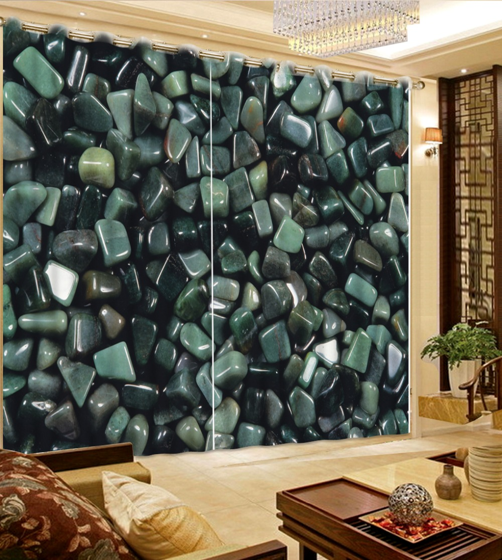 Green bedroom curtains - 3d Printed Curtains Home Decor Modern Beautiful Bedroom Curtains Dark Green Pebbles Modern Curtains For Bedroom