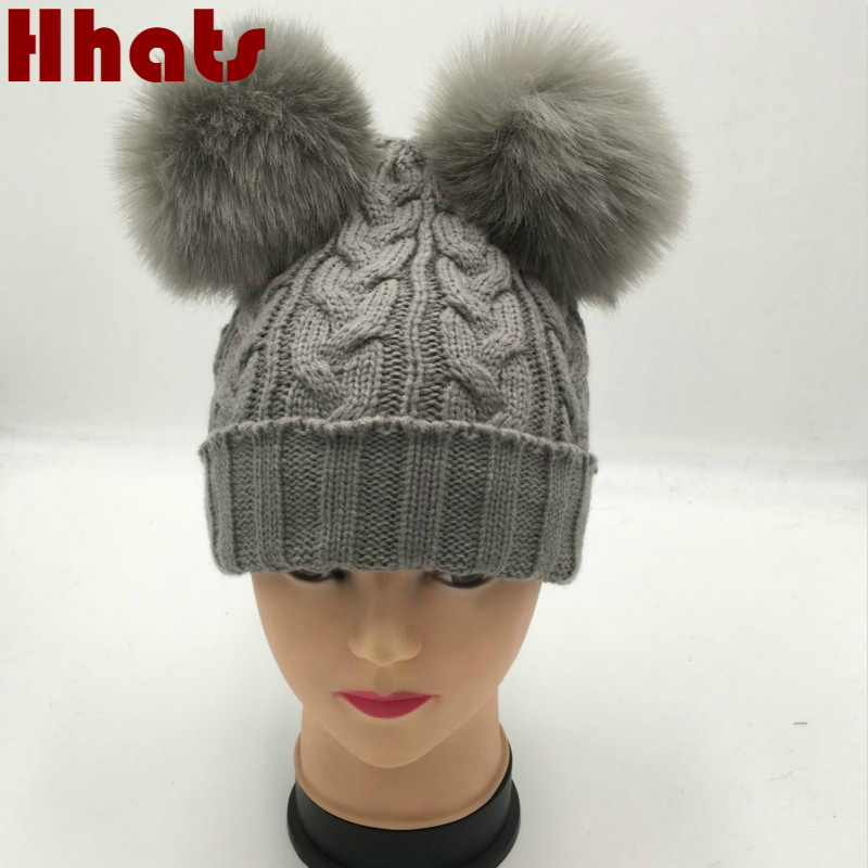 Which in shower family two faux fox fur pom pom winter hat women girl knit cable warm   skullies     beanie   with double pompom ball