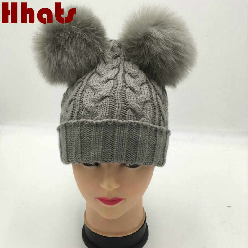 bd653841707 Detail Feedback Questions about Which in shower family two faux fox fur pom  pom winter hat women girl knit cable warm skullies beanie with double pompom  ...
