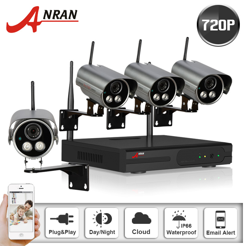 Anran 4CH 720P HD NVR Wireless Security CCTV Surveillance System HD 1.0MP Night Vision WIFI Indoor Outdoor IP Camera Kit 1TB HDD