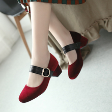Zapatos Mujer Women Pumps Ankle Strap Thick Heel Women Shoes Round Toe Mid Heels Dress Work Pumps Comfortable Ladies Shoes 34-43 недорого