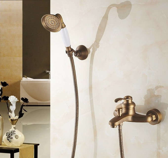 Antique Brass Wall Mounted Bathroom Single Handle Bathtub Faucet Tap Hand Held Shower set With Wall bracket &1.5m Hose atf302Antique Brass Wall Mounted Bathroom Single Handle Bathtub Faucet Tap Hand Held Shower set With Wall bracket &1.5m Hose atf302