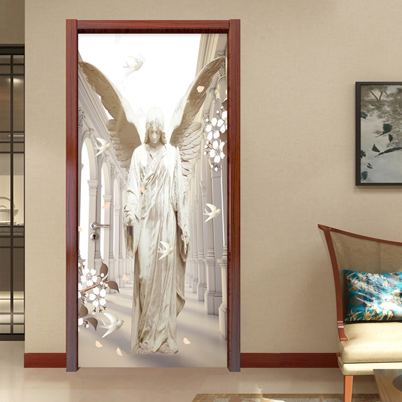 Self-Adhesive Door Sticker 3D Stereo Stone Carving Angel Wings Dove Wallpaper Living Room Study Creative DIY Door Wall Stickers