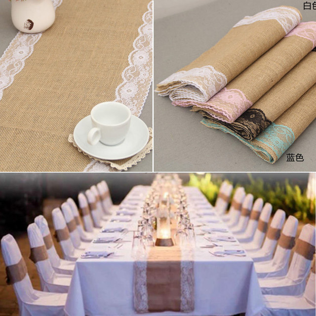 275x30cm Home Textile Vintage Burlap Lace Table Runner Natural Jute Country Party Banquet Wedding Decoration Top Quality QXK1