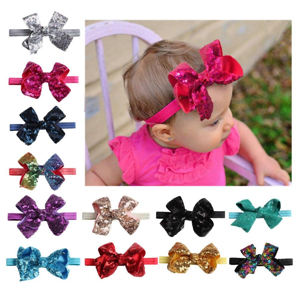 on sale 1PC 2018 New Glitter bows Headband Baby Bow knot Children Kids Girls Elastic Turban Hair Band Hair Accessories Head Wrap