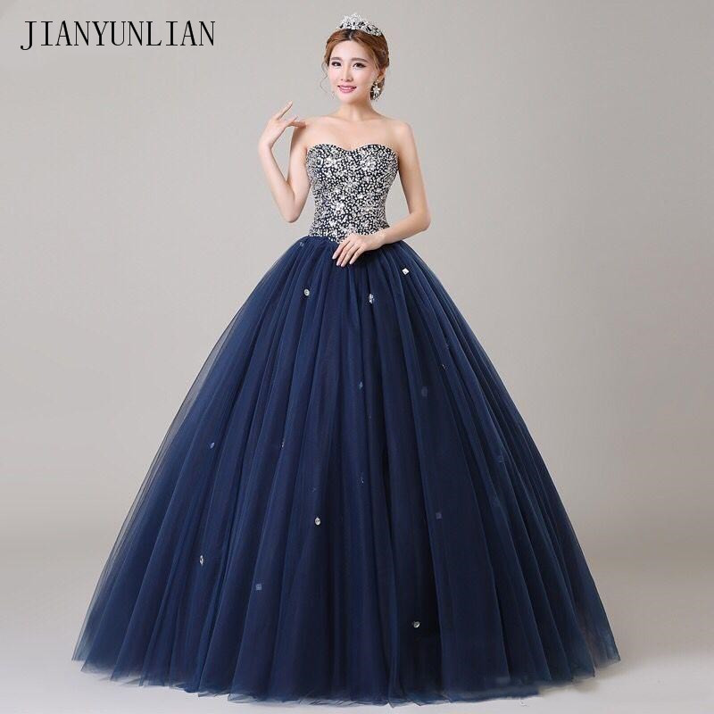 Navy Blue Ball Gown Prom Dresses Sparkling Beads Sequins Top Lace-up Back Evening Gownselegant Evening Formal Dresses 2019