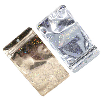 100Pcs Clear Gold Glittery Aluminum Foil Zip Lock Packaging Bags with Hang Hole Retail Candy Nuts Storage Zipper Mylar Pouches 9 15cm green frosted top zipper aluminum foil package bag clear plastic ziplock packaging pouches with hang hole 100pcs lot