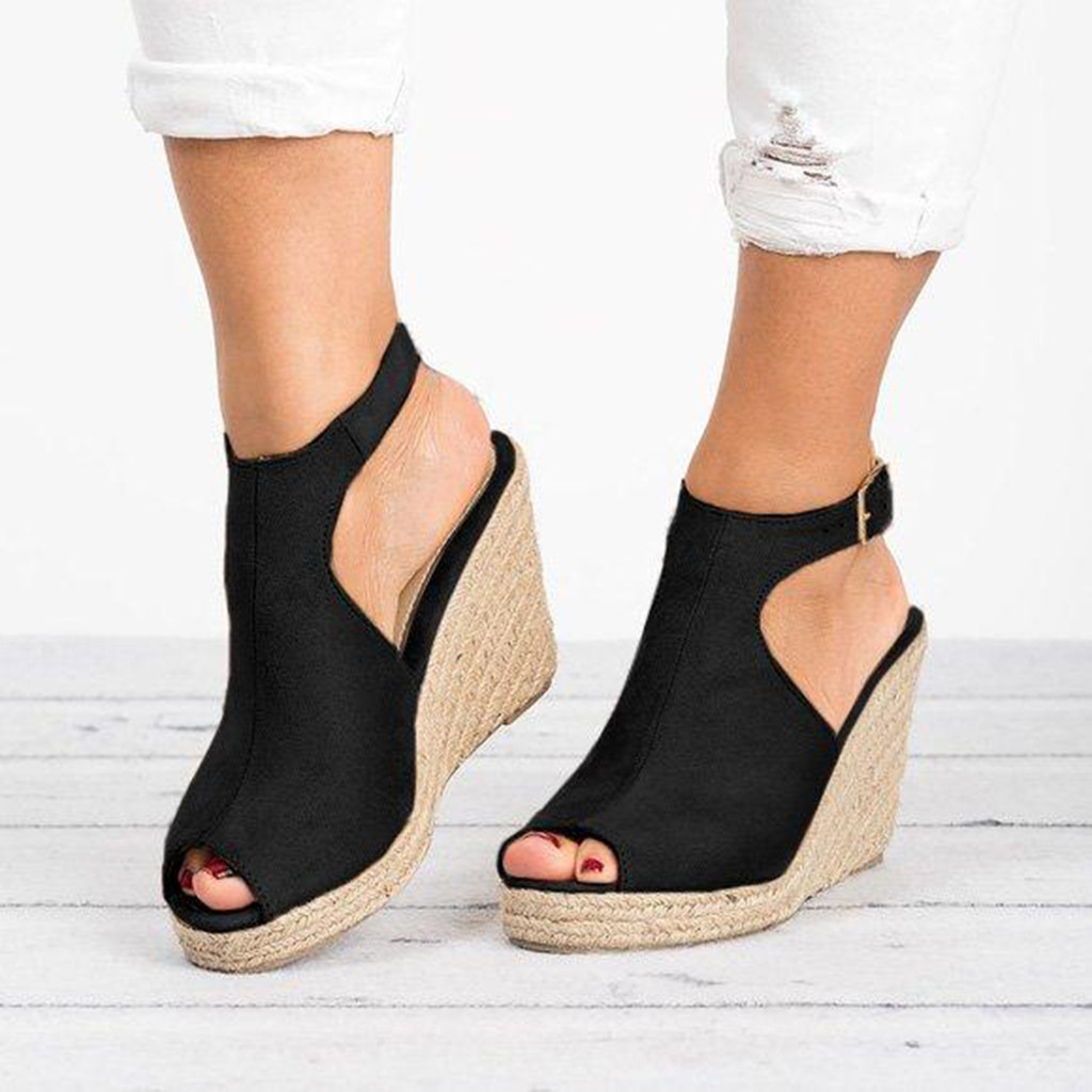Wedges Shoes Sandalia Casual Women Solid-Buckle-Strap for High-Heels Summer Roman
