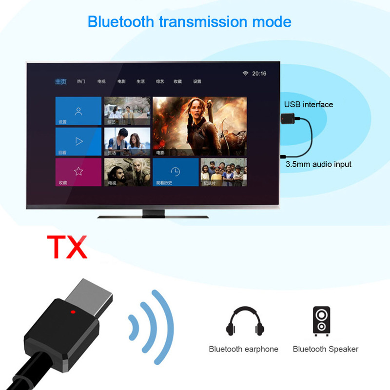 Portable Mini 2in1 Bluetooth 5.0 Transmitter Receiver 3.5mm AUX USB Wireless Stereo Audio Adapter For Home TV MP3/4 PC Car
