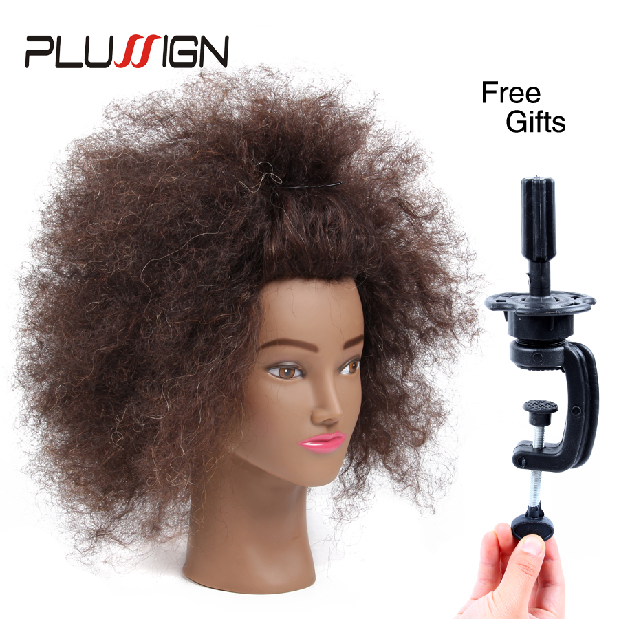 100 Real Human Hair Hairdressing Training Head Brown Short Afro Hair Cutting Mannequin Head Hairstyles For African American