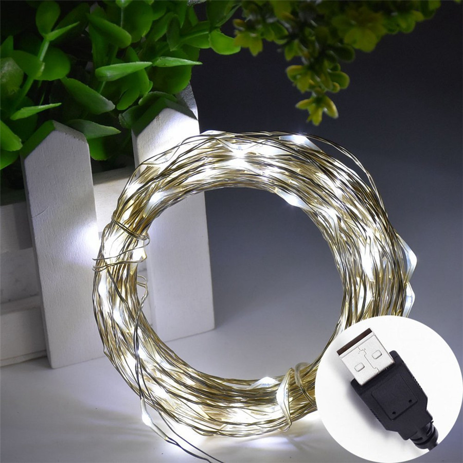 Waterproof DC5V safe Portable led string light 5M 10M USB Silver Wire outdoor holiday garden Xmas decoration Romantic