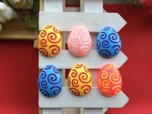 Free shipping flatback resin Easter eggs Hair bow decoration convex circular phone DIY Pendant decorative 10PCS