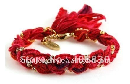 HOT!!! fashion hand made jewelry silk bracelet, red cotton rope braided gem chain woven bracelets