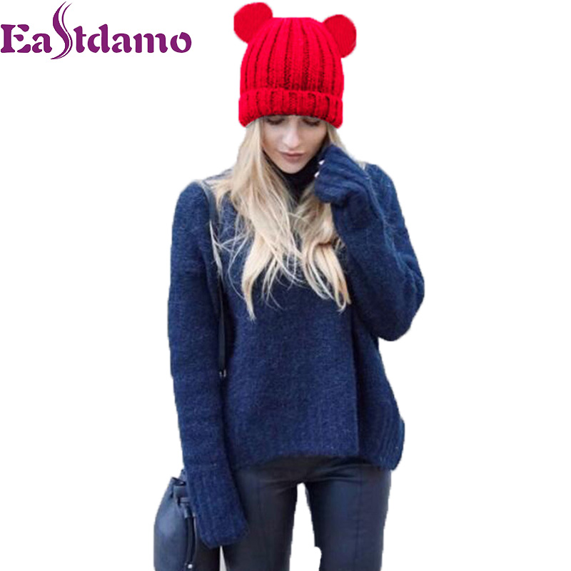 Eastdamo 2017 Autumn Cute Ear Caps Winter Warm Knitted Hats Women Lovely Knit Beanies Hat Red Blue Hats for Party Outdoor