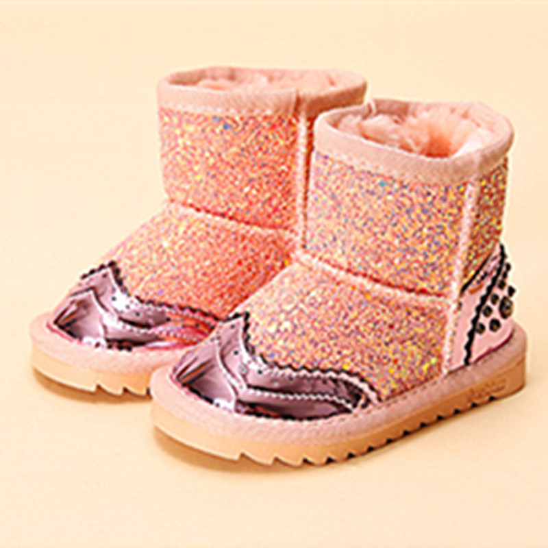 ФОТО WENDYWU 2017 new girls boots baby leather shoes winter boots for kids diamond sheos snow bling bling boots pink