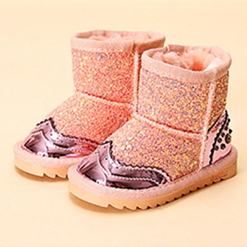 WENDYWU 2017 nouvelles filles bottes bébé en cuir chaussures d'hiver bottes pour enfants diamant sheos neige bling bling bottes rose